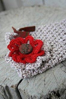 Taštičky - vrecúško háčkované s kvetinkou 1 - 7650214_