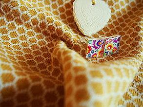 Šperky - Štvorčekové manžetky s folk vzorom - 7648900_