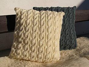 Úžitkový textil - pletené vankúše - 2 kombinácia krémová, sivá - 7649378_