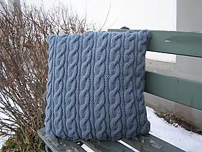 Úžitkový textil - pletený vankúš - tmavosivý - 7649645_
