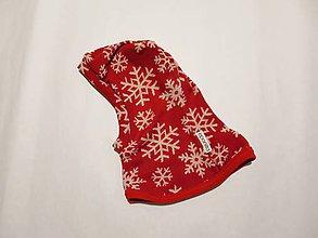 3d6aade6d Detské čiapky - Podšitá merino kukla červené vločky - veľkosť 44 - 7655464_