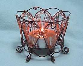 Svietidlá a sviečky - Medený drôtený svietniček - 7652829_