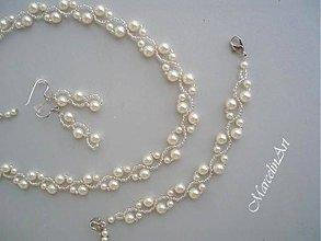 Sady šperkov - %ZĽAVA% Svadobný perlový set *Marion*- Swarovski biely (aj krémová varianta) + darček  - 7655139_