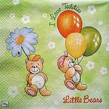 Papier - S109 - Servítky - macko, medvedík, balóny, kvetinka, teddies - 7652311_