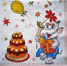 Papier - S111 - Servítky - slon, oslava, narodeniny, torta - 7652337_