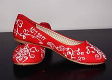 Obuv - svadobné balerínky - red ornament - 7654037_