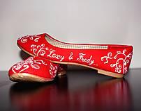 Obuv - svadobné balerínky - red ornament - 7654038_