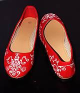 Obuv - svadobné balerínky - red ornament - 7654039_