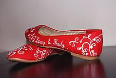 Obuv - svadobné balerínky - red ornament - 7654040_