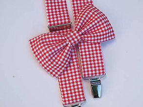 Doplnky - Pánsky motýlik a traky- červeno-biely káro set - 7652745_