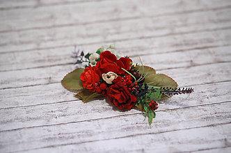 Ozdoby do vlasov - Kvetinová červená spona - 7655792_