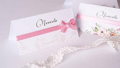 Drobnosti - Menovka na svadobný stôl kvietky - 7653569_