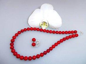 Sady šperkov - Koral prírodný červený náhrdelník a náušnice v striebre - 7652424_