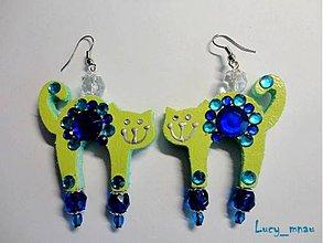 Náušnice - Náušničky mačičky zeleno-modré :) - 7654802_