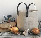 Úžitkový textil - Košík z ručne tkaného ľanu s koženými skladateľnými rúčkami - 7653812_