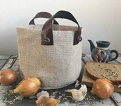 Košíky - Košík z ručne tkaného ľanu s koženými skladateľnými rúčkami - 7654033_