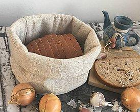Úžitkový textil - Košík z ručne tkaného ľanu 20x16cm - 7654135_