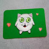 Papiernictvo - Farebná oblá zvieracia valentínska pohľadnica - mačka - 7653779_
