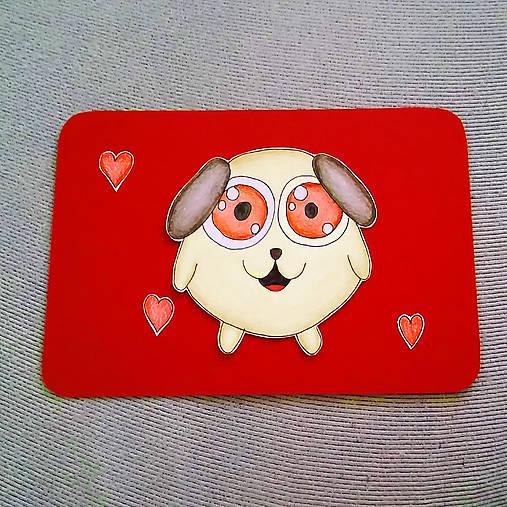 Farebná oblá zvieracia valentínska pohľadnica - psík