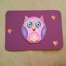 Papiernictvo - Farebná oblá zvieracia valentínska pohľadnica (sova) - 7653107_