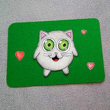 Papiernictvo - Farebná oblá zvieracia valentínska pohľadnica - mačka -  7653779  567faa6e318