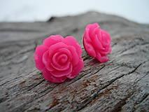 - Náušnice Růžičky Pink Neon napichovačky (NEREZOVÉ) - 7660169_
