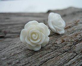 Náušnice - Náušnice Růžičky Bílé napichovačky (NEREZOVÉ) - 7660034_
