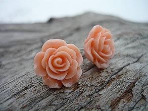 Náušnice - Náušnice Růžičky Lososové napichovačky (NEREZOVÉ) - 7660080_