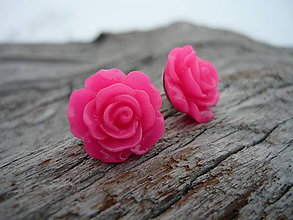 Náušnice - Náušnice Růžičky Pink Neon napichovačky (NEREZOVÉ) - 7660169_