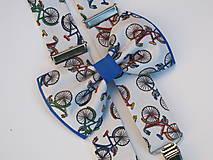 Doplnky - Pánsky motýlik a traky- set pre milovníkov cyklistiky - 7658473_