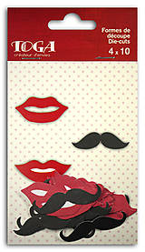 Papier - FPD113 Sada 40 papierových ozdôbok – Fúzy & Pusinky - 7658254_