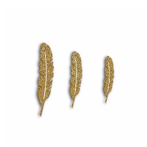 FPD508 Ozdôbky Glitrové zlaté pierka 12ks