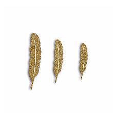 Papier - FPD508 Ozdôbky Glitrové zlaté pierka 12ks - 7658351_