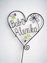 Dekorácie - srdiečko pre babku, zápich srdce - 7660793_