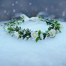 Ozdoby do vlasov - Venček s krémovými ružičkami - 7664611_