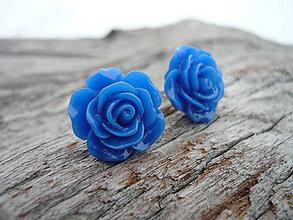 Náušnice - Náušnice Růžičky Modré napichovačky (NEREZOVÉ) - 7661224_