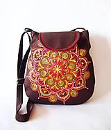 - VÝPREDAJ - Veľká hnedá taška s oranžovou mandalou - 7661197_