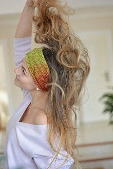 Ozdoby do vlasov - Zelený melír čelenka - 7663756_