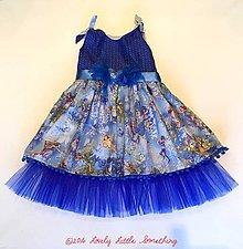 Detské oblečenie - Ľadovo-modro-zlaté vílové šatičky - 7661215_