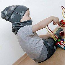 Detské čiapky - Čiapka s nákrčníkom (Tmavošedá s obláčikom) - 7661549_