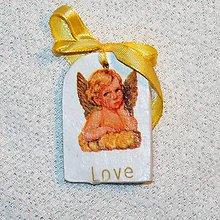 Dekorácie - Drevená Valentínka Anjelská láska - 7660660_
