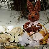 Dekorácie - Velikonoční dekorace - Ušáček s košíčkem vajíček - 7660923_
