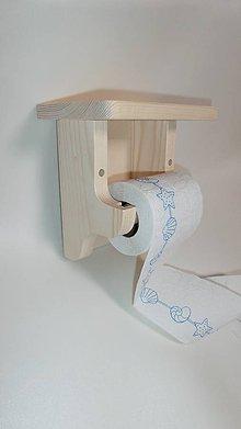 Nábytok - Držiak drevený na toaletný papier s poličkou - 7661186_