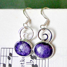 Náušnice - Charoite Earrings Silver Ag 925 / Visiace náušnice s čaroitom - 7664810_