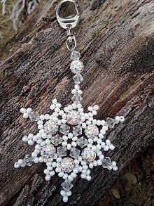 Iné šperky - Prívesok na kabelku - snehová vločka - 7666043_