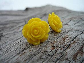 Náušnice - Náušnice Růžičky Žlté napichovačky (NEREZ) - 7666204_