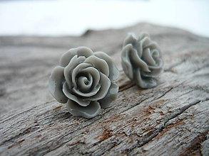 Náušnice - Náušnice Růžičky Sivé napichovačky (NEREZ) - 7666248_