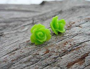 Náušnice - Náušnice Růžičky Neonovězelené mini napichovačky - 7668251_