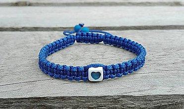 Náramky - Náramok so srdiečkom (modrý) - 7667315_