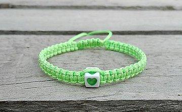 Náramky - Náramok so srdiečkom (zelený) - 7667428_